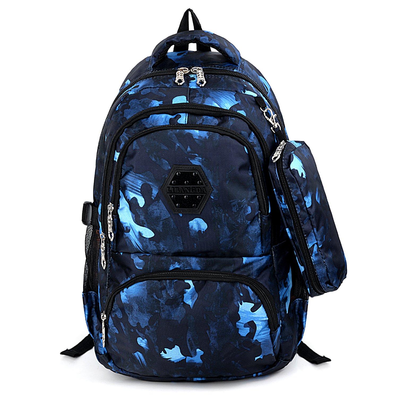 UTO Zaino per Giovani Nylon impermeabile Unisex adulto Zaino Borsa Cartelle da scuola Zaino con regalo Astucci Blu 18000457-1