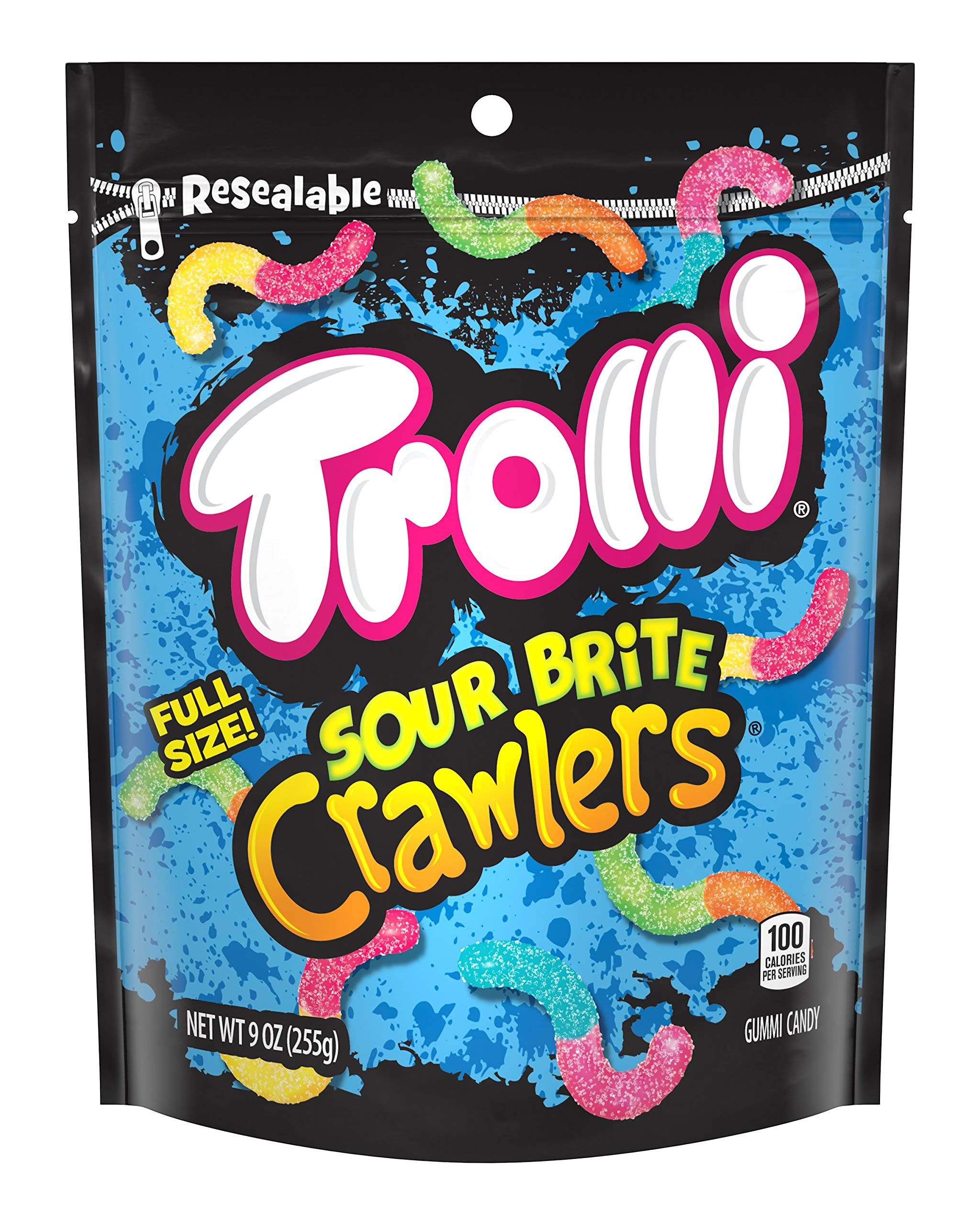 Trolli Sour Brite Crawlers Minis Gummy Candy, 9 Ounce Bag, Pack of 6