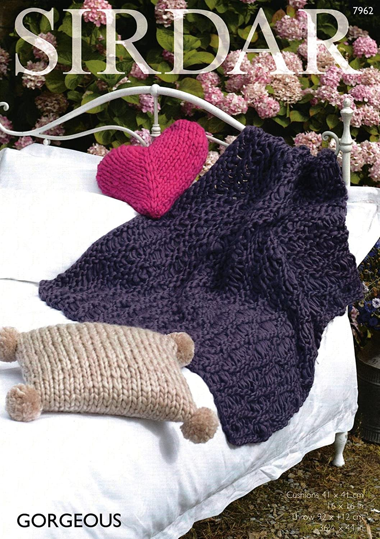Sirdar Knitting Pattern Throw Cushion Cover Gorgeous Ultra Chunky Yarn 7962