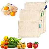 Kyerivs Wiederverwendbare Einkaufsnetze aus Baumwolle inklPlastikfrei GemüsenetzeStabile Obst- und Gemüsebeutel 5er Set (2L, 2M, 1S) mit Gewichtsangabe Saisonkalender - Plastikfrei Gemüsenetze Obst.