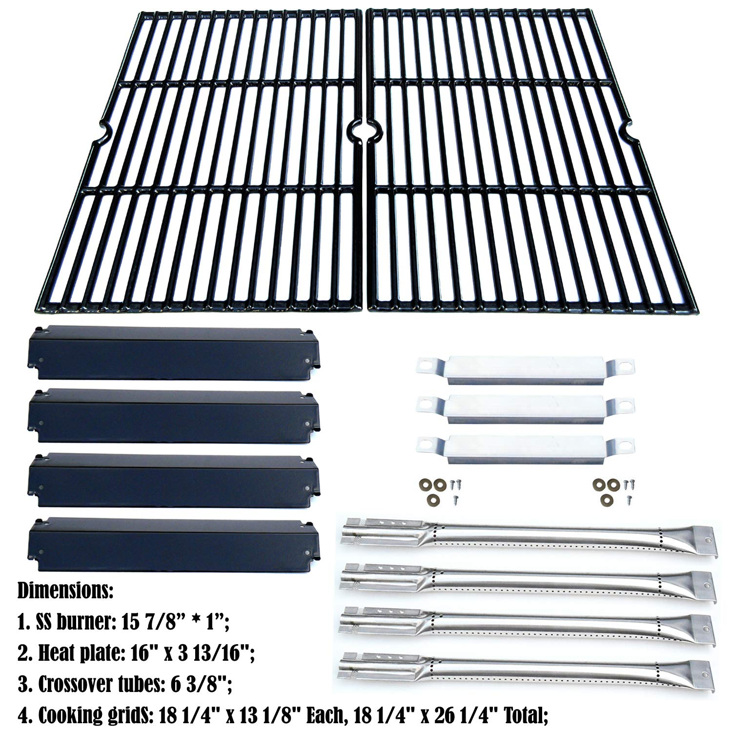 Direct store Parts Kit DG166 Replacement Charbroil Commercial Gas Grill 463268606,463268007 Repair Kit (SS Burner + SS carry-over tubes + Porcelain Steel Heat Plate + Porcelain Cast Iron Cooking Grid) by Direct store (Image #2)