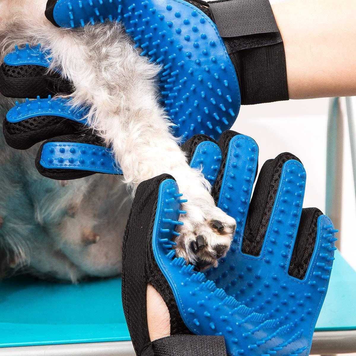 DropSharks Pet Grooming Glove Hair Remover Gentle Bathing Massage