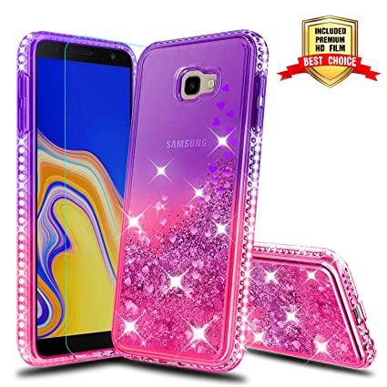 Galaxy J4 Plus Case, Samsung Galaxy J4 Prime Girly Cases with HD Screen Protector, Atump Glitter Liquid Diamond TPU Silicone Phone Cover Case for ...