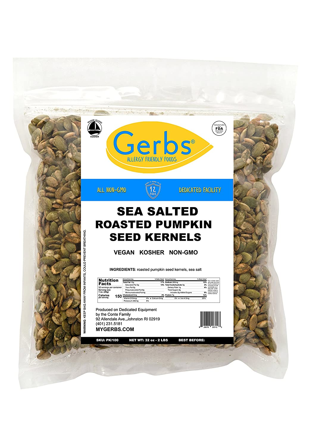 Sea Salted Pumpkin Seed Kernels, 2 LBS by Gerbs – Top 14 Food Allergy Free & NON GMO - Vegan & Kosher - Dry Roasted Premium Quality Seeds