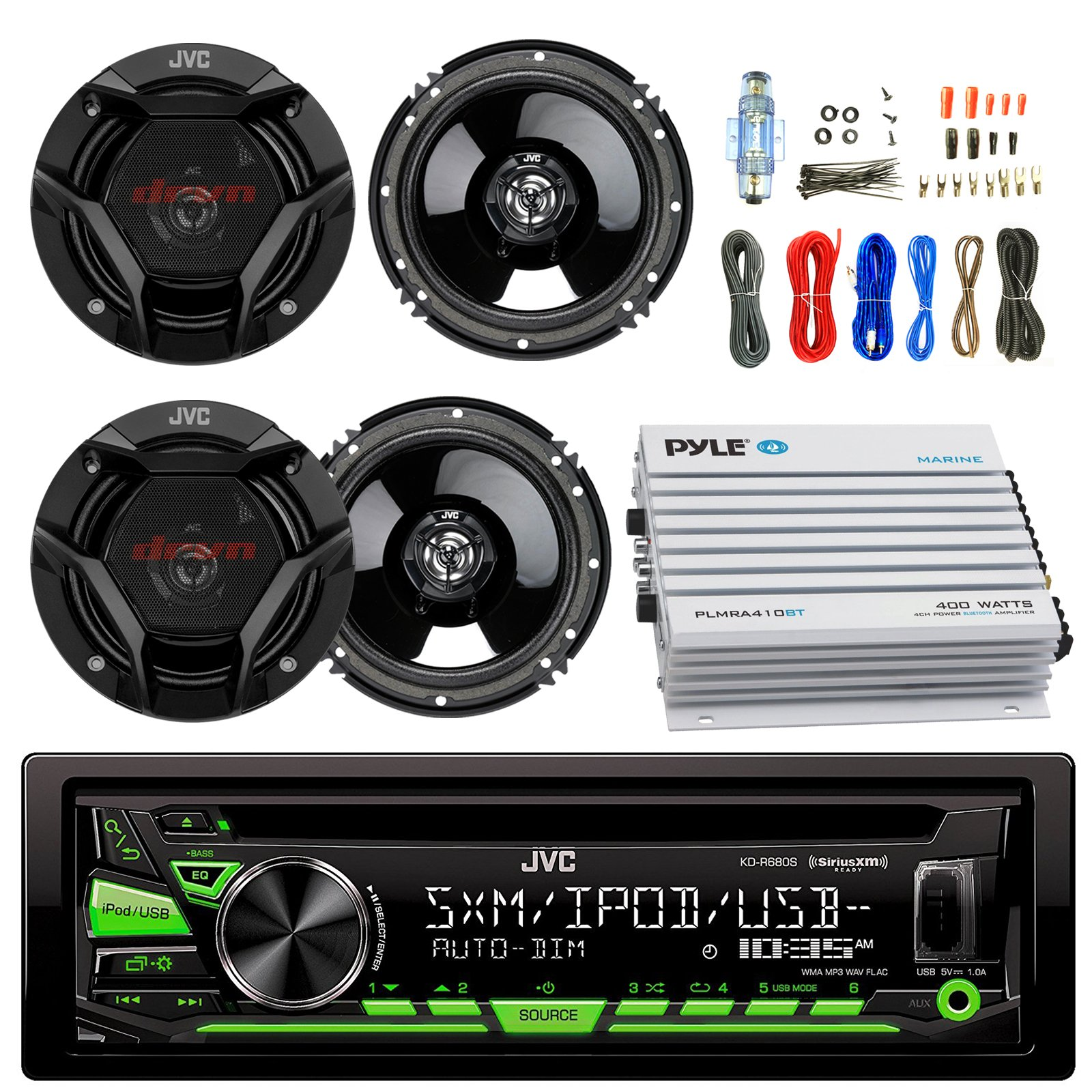 JVC KDR680S Car CD Player Receiver USB AUX Radio - Bundle Combo With 4x JVC CSDR620 6.5'' Inch 300-Watt 2-Way Black Audio Coaxial Speakers + + 4-Channel Amplifier + Amp Kit