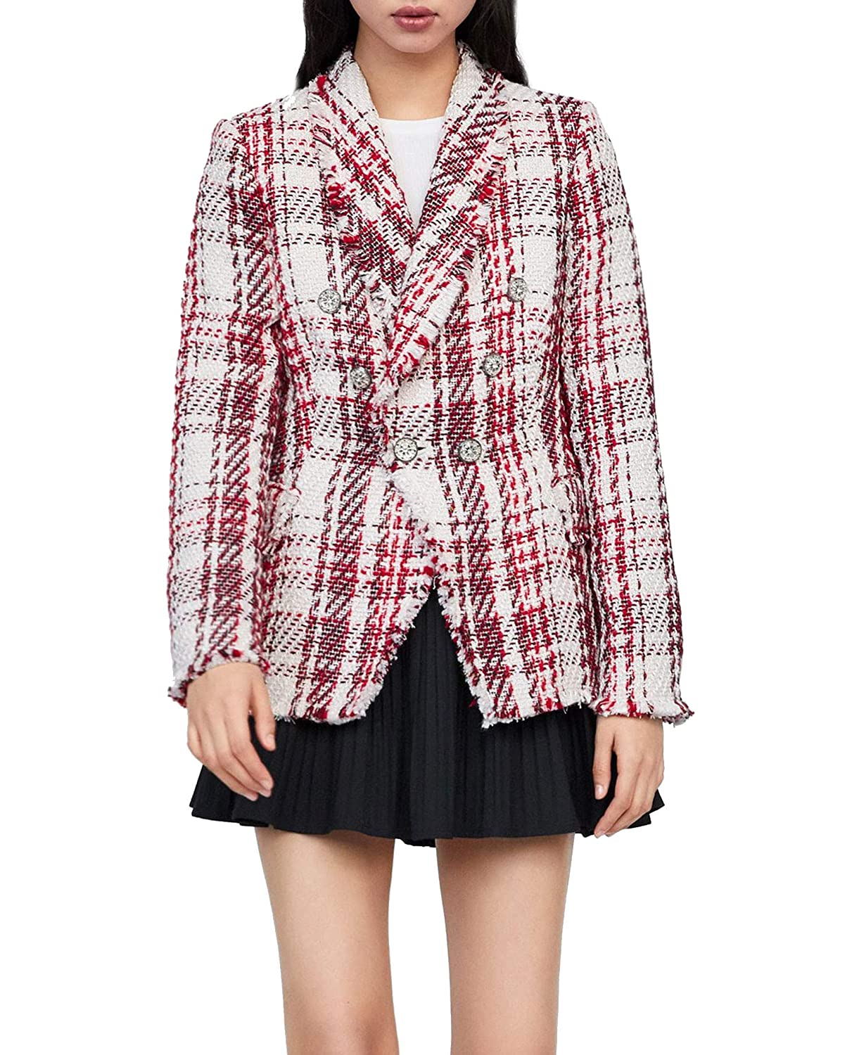6f38c513 Zara Women's Tweed Jacket with gem Button 2135/614 Off-White: Amazon.co.uk:  Clothing