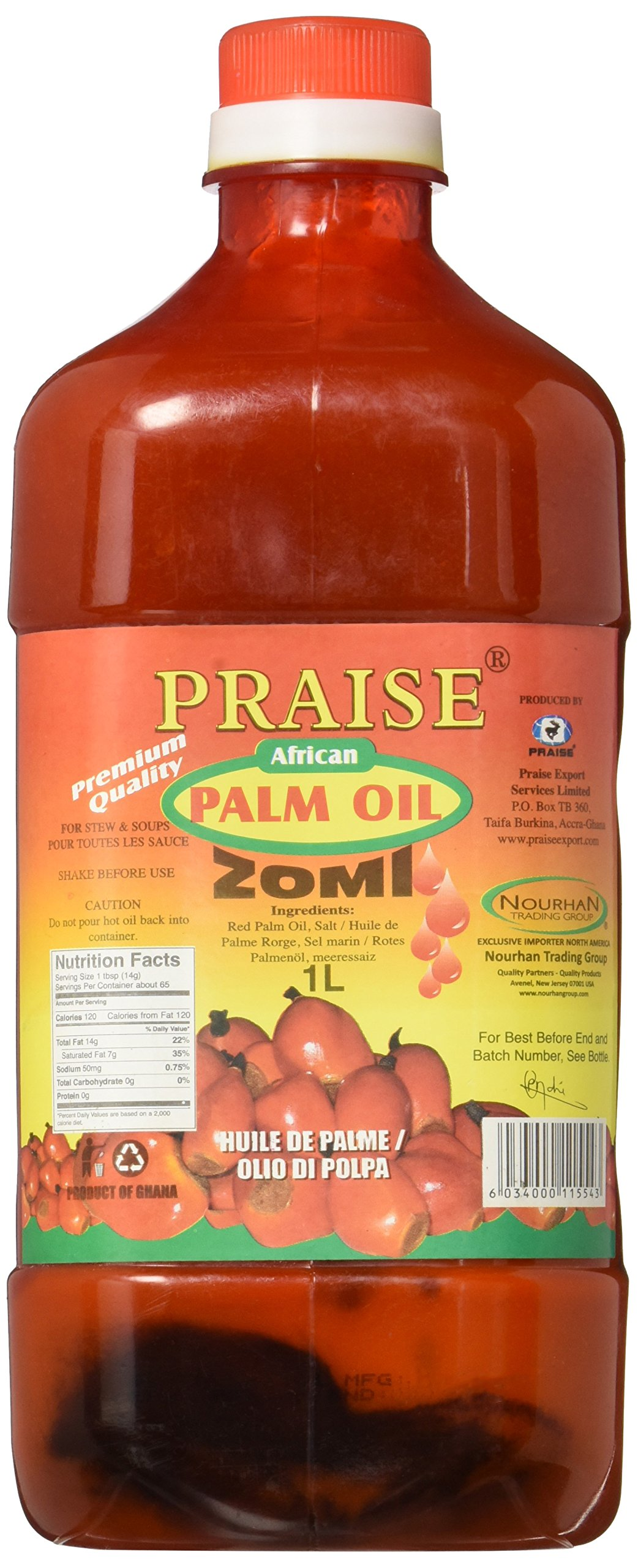 Praise Red Palm Oil, 1-Litre - Zomi