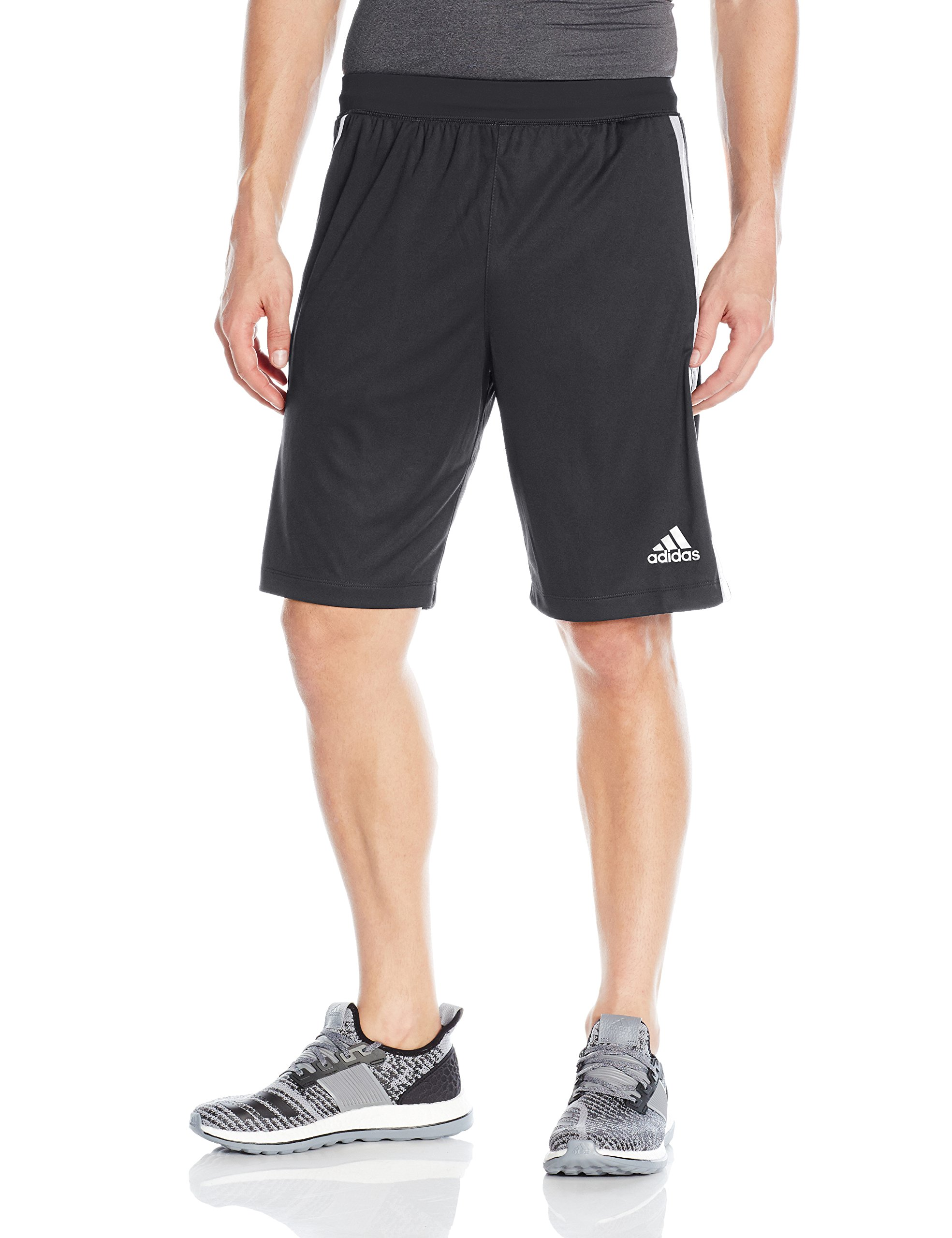 adidas Men's Designed-2-Move 3-Stripe Shorts, Black/White, X-Small