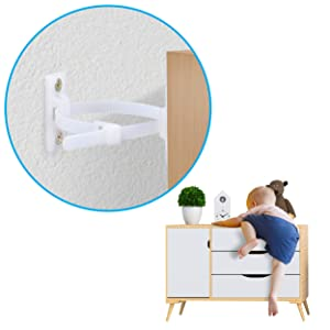 KIDDIESSENTIALS Furniture Anchors for Baby Proofing (10 Pack), Heavy Duty Furniture Straps, Nylon 6T Material Anti Tip Bracket for Furniture