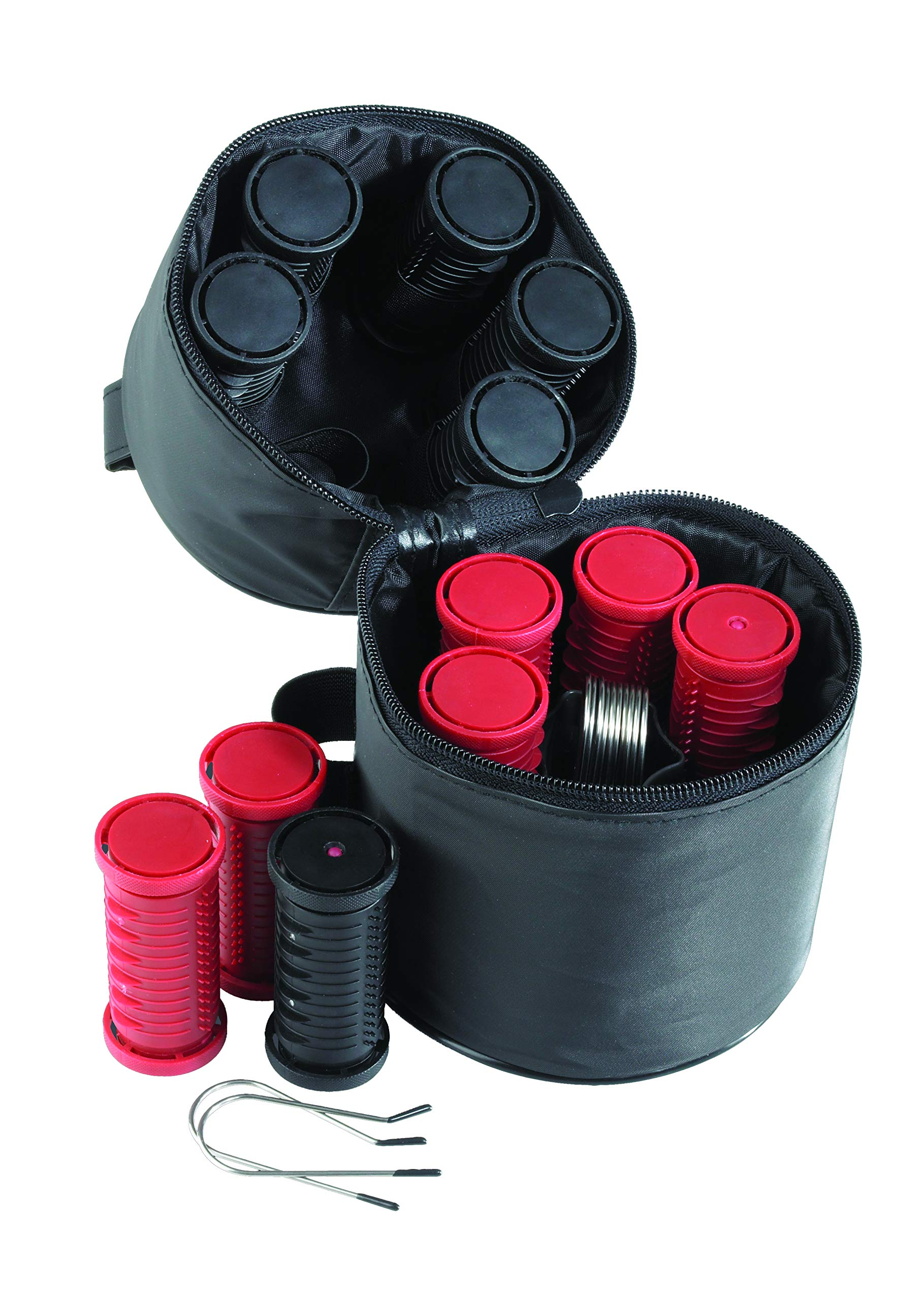 Nicky Clarke Heated 3.5 cm Rollers Compact Travel Set of 12, Ionic Self Grip with Pin Clips and Zip Storage Bag, Black & Red - NHS005