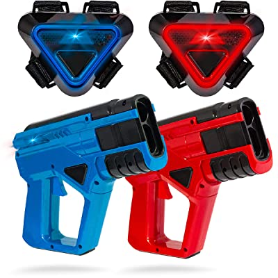 SHARPER IMAGE Two-Player Toy Laser Tag Gun Blaster & Vest Armor Set for Kids, Safe for Children and Adults, Indoor & Outdoor Battle Games, Combine Multiple Sets for Multiplayer Free-for-All!: Toys & Games