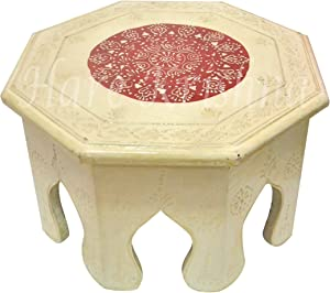 Low Coffee Footstool Hand Painted Wooden Furniture Bajot Gifts Side Table (White) 10 x 10 x 6 Inches