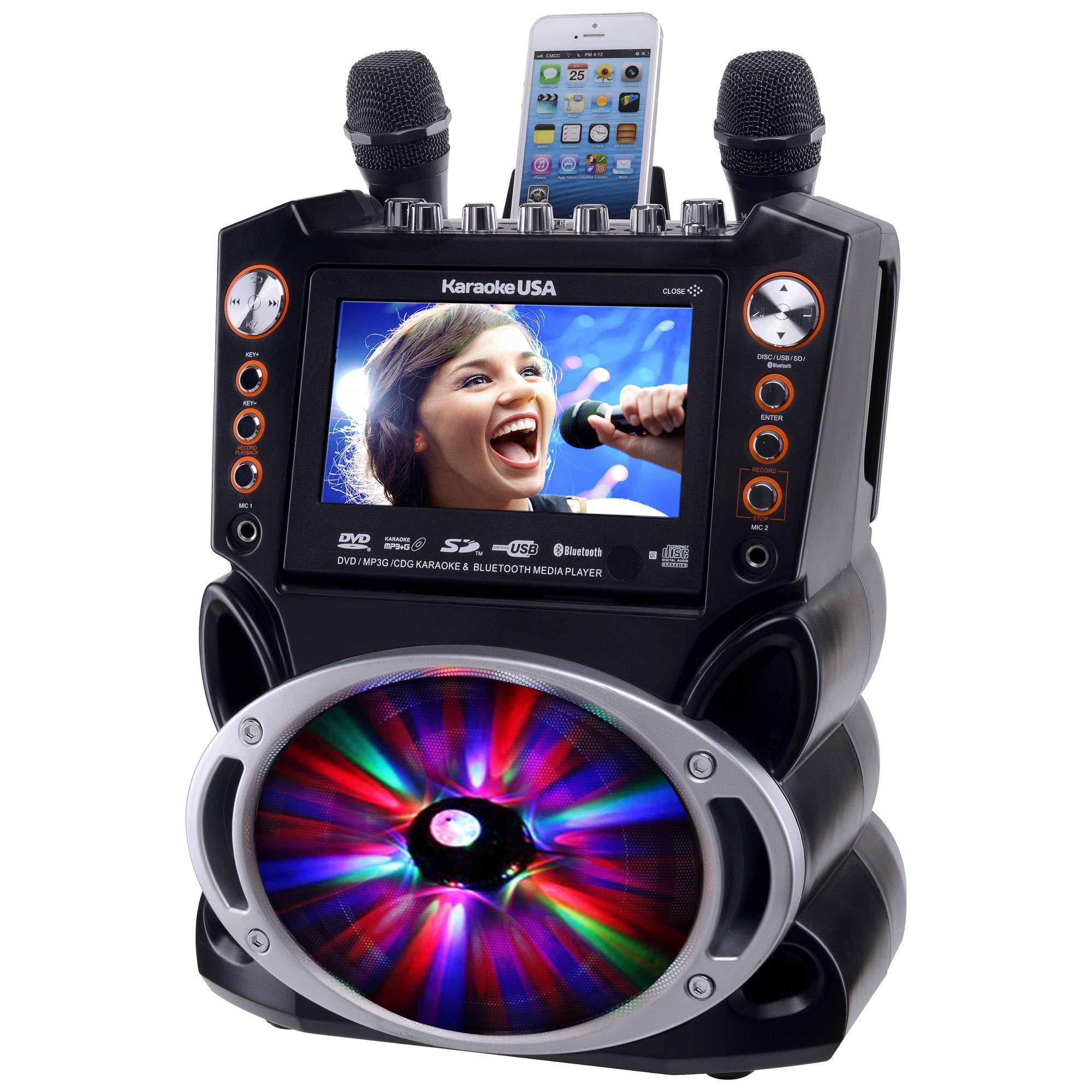 Karaoke USA GF846 DVD/CDG/MP3G Karaoke Machine with 7'' TFT Color Screen, Record, Bluetooth and LED Sync Lights by Karaoke USA (Image #2)