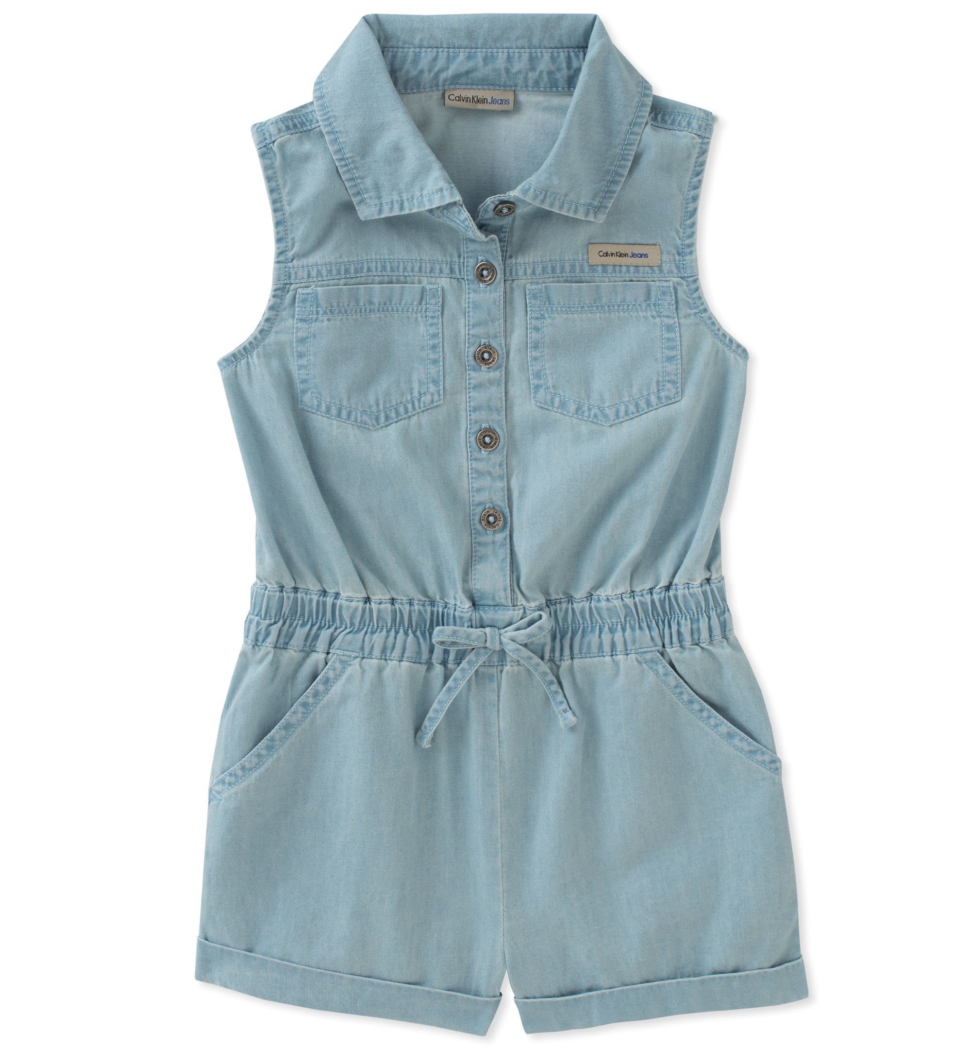 Calvin Klein Little Girls' Romper, Light Wash Blue, 4