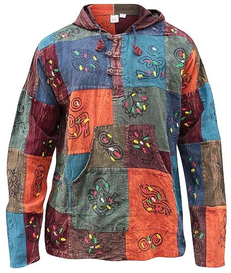 Shopoholic Moda Con Capucha Prelavado Patchwork En Bloques Abuelo Hippie Camisa: Amazon.es: Ropa y accesorios