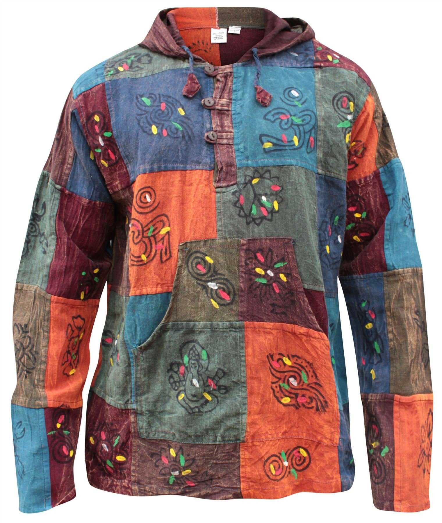 Shopoholic Fashion Mens Plain Patchwork Grandad Hoodie Shirt, Multicoloured, Large