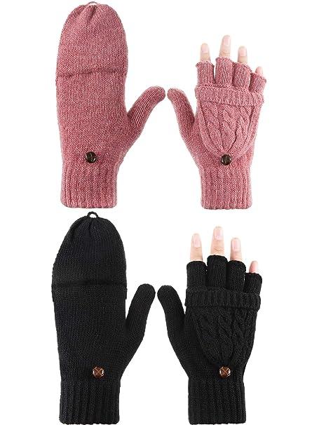 2 Pairs Men Women Knitted Fingerless Half Finger Winter Gloves Soft Warm Mittens