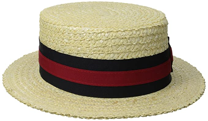 Men's Vintage Style Hats Scala Mens Dress Straw 1 Piece 10/11Mm Laichow Braid Boater Hat $65.79 AT vintagedancer.com