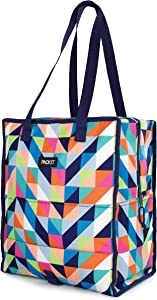 PackIt Freezable Grocery Shopping Tote Bag with Zip Closure, Paradise Breeze