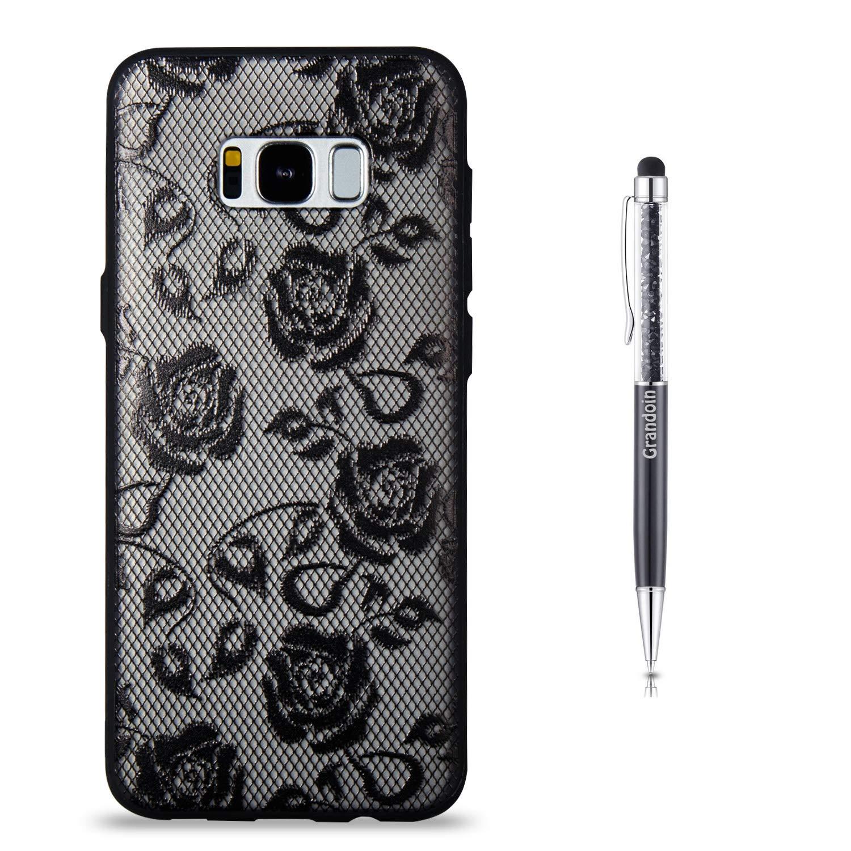 Coque Galaxy S8 Plus,Grandoin 2 en 1 Ultra Mince Coque Transparente Silicone Gel TPU Souple avec Cute Motif Dessin Mignon Imprimé, Housse Etui de Protection pour Samsung Galaxy S8 Plus (Lotus Blanc)