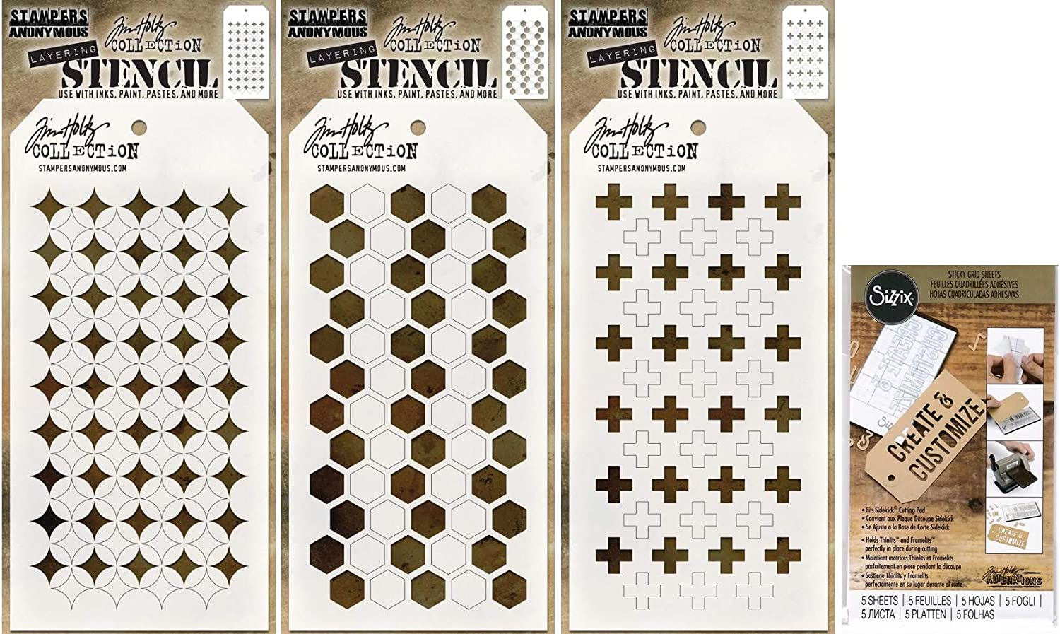 4 Items Shifter Hex Tim Holtz Shifter Stencils 2019 Shifter Burst Shifter Plus and Sticky Grid Sheets
