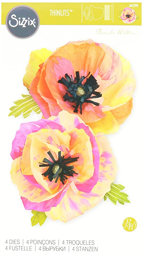 37b853915e7 Amazon.com: Sizzix 661090 Large Poppy Thinlits Die Set by Brenda Walton  (4/Pack)