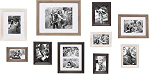 Kate and Laurel Bordeaux 10 Piece Wood Frame Set, White Wash, Charcoal, Rustic Gray