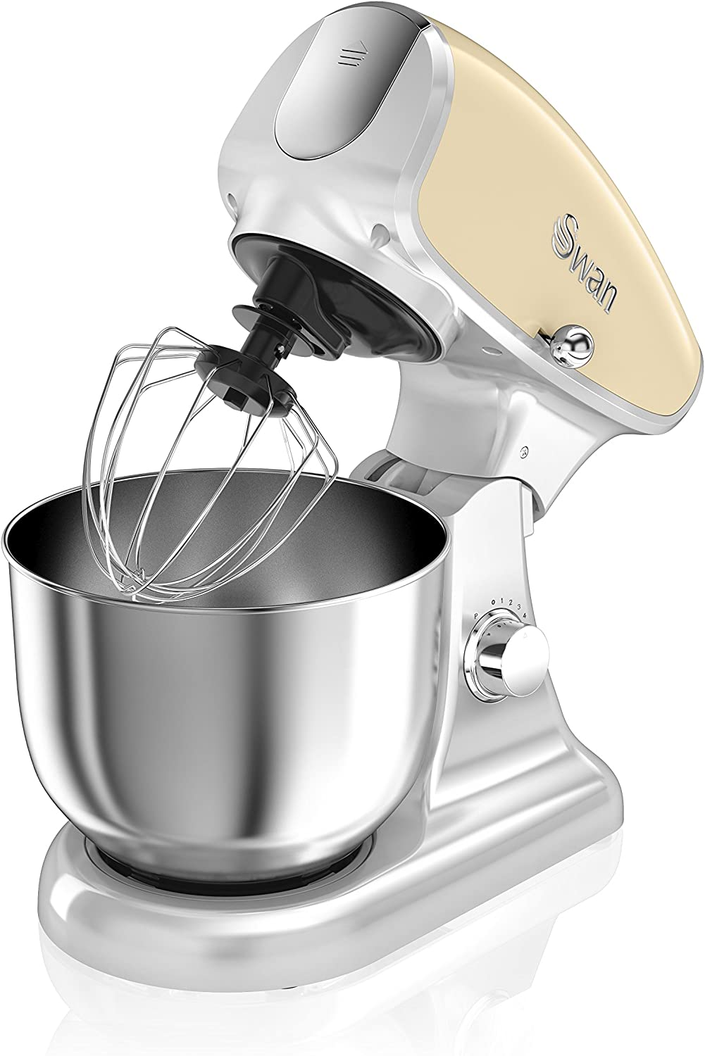 Swan SP33010CN Retro Die-Cast Stand Mixer, 4.5 Litre Stainless Steel Mixing Bowl, 1200 W, 8 Variable Speed Settings, Low noise, Cream – Includes Splash Guard, Dough Hook, Beater & Whisk