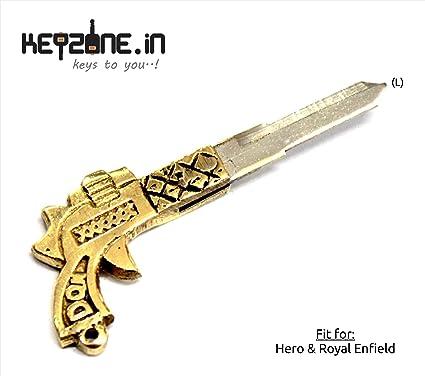 e1801d5e3bf042 Keyzone Designer Brass Key Blank for Royal Enfield/Hero Bikes (Left ...