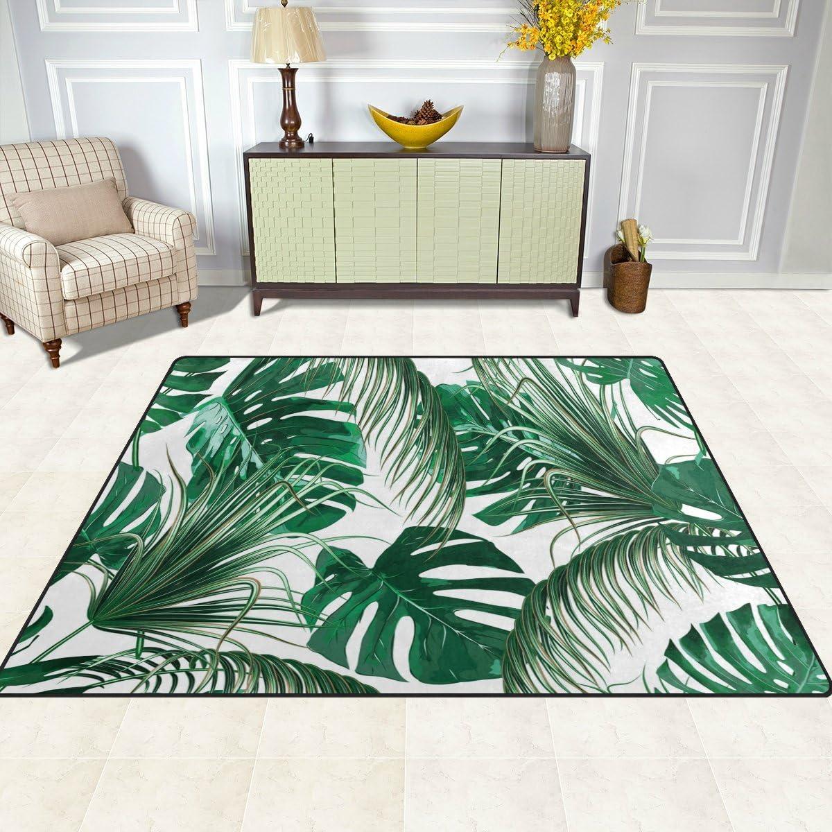 multicolore vert Use7 5.3 x 4 feet 160cm x 122cm Tissu Tapis motif tropical avec palmier et feuilles