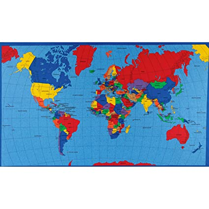 Amazon.com: Fabric Traditions Multi Panel Map World Fabric