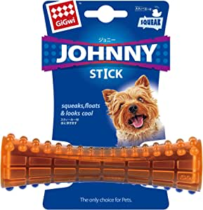 Gigwi Johnny Stick Dog Chewing Toy, Orange-Blue, Small