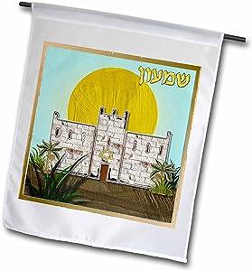 3dRose Lee Hiller Designs Judaica - 12 Tribes of Israel Art Print Simeon - 18 x 27 inch Garden Flag (fl_107266_2)