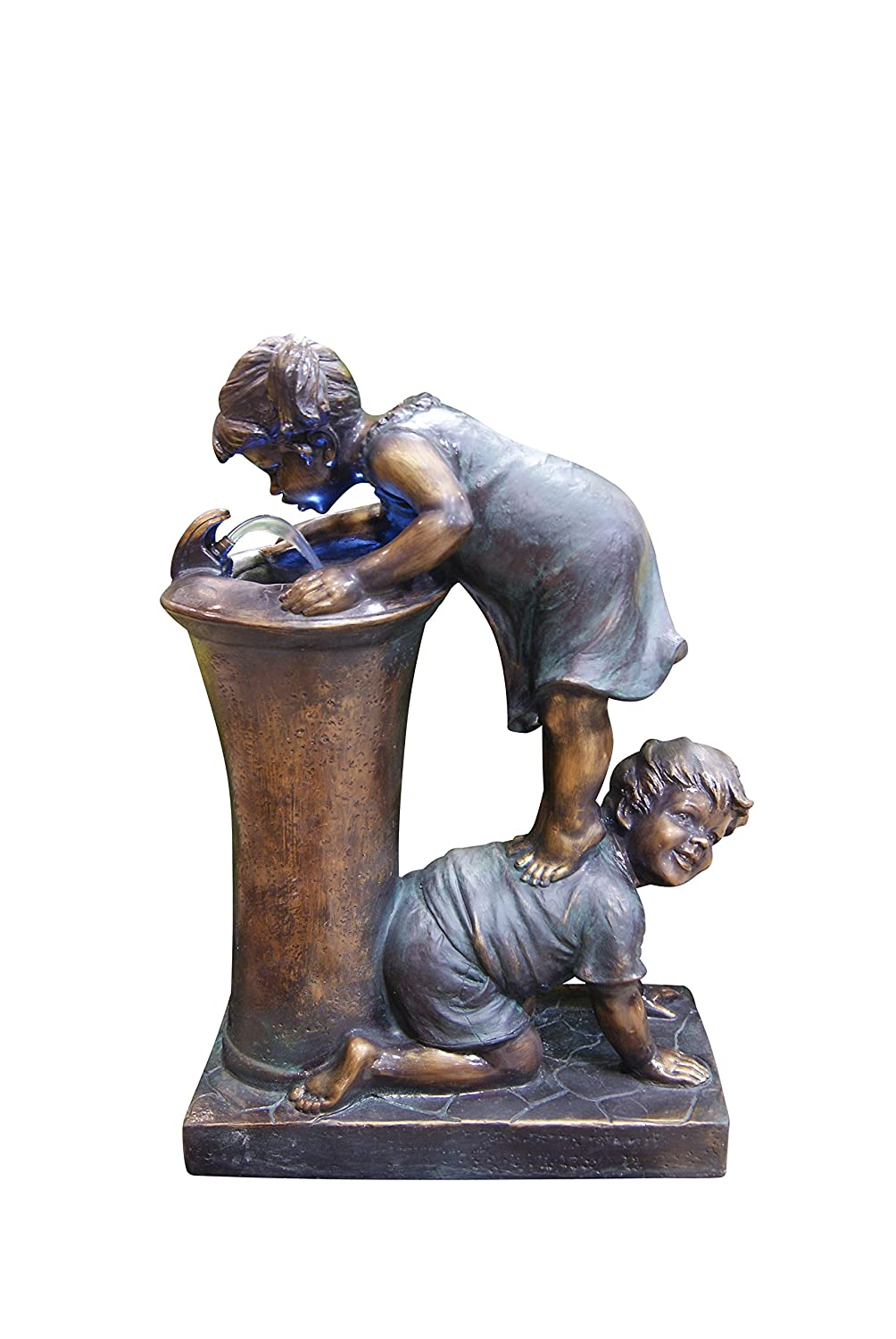 Amazon.com : Alpine Boy And Girl Drinking Water Fountain With LED Light :  Tabletop Fountains : Garden U0026 Outdoor