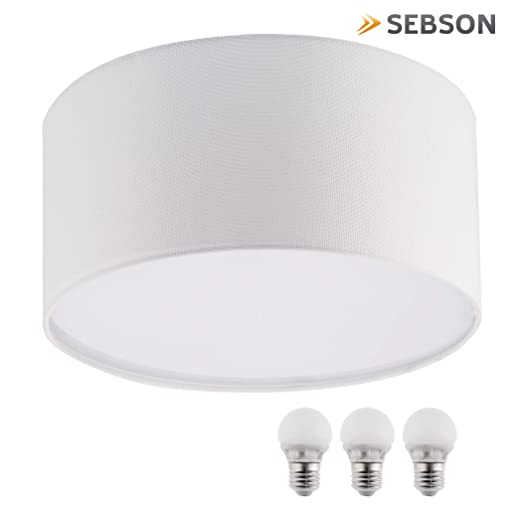 sebson Lampara techo con tela y 3 bombillas LED E27, 5W, 35W, Blanco, 40 x 40 x 20 cm
