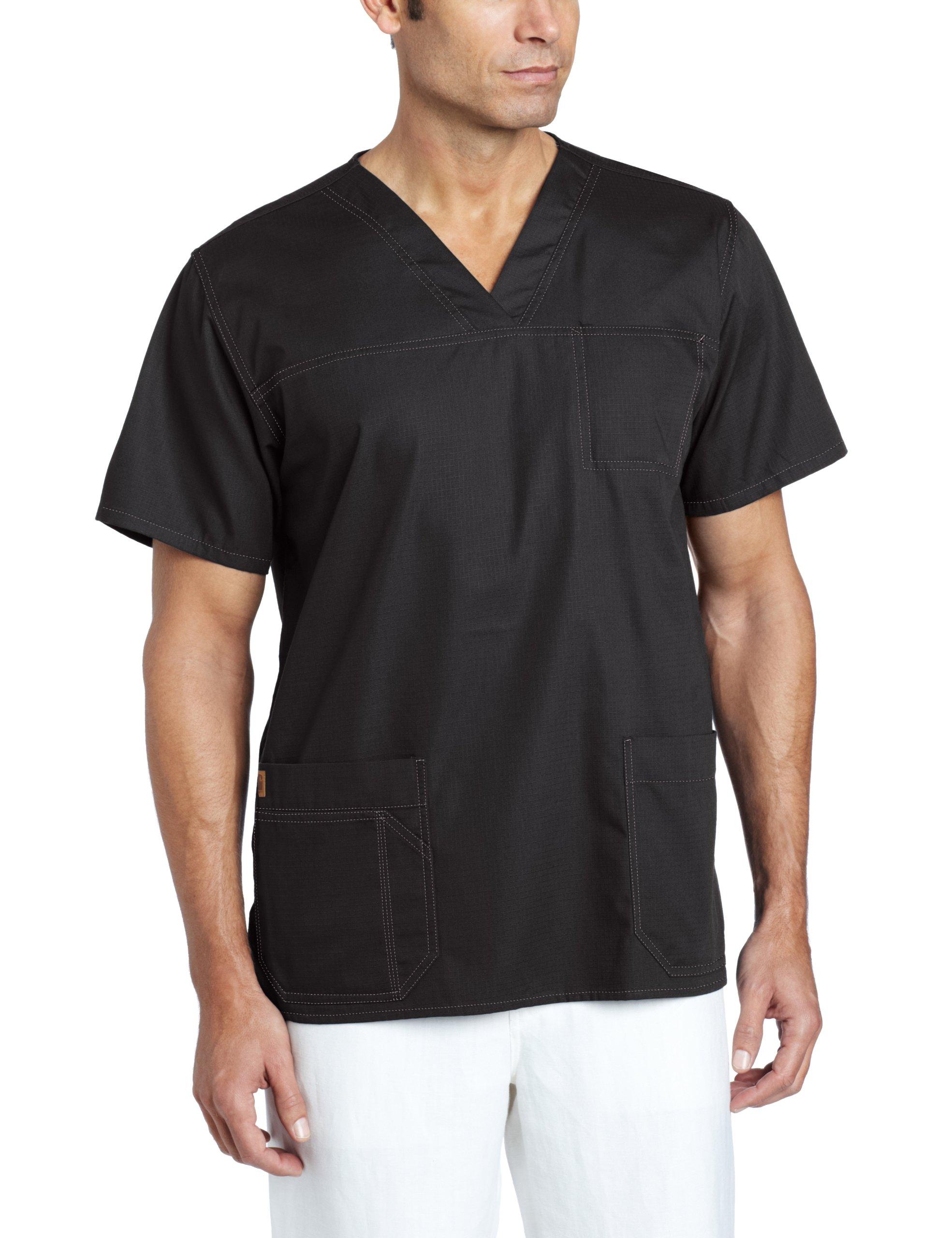 Carhartt Men's Ripstop Multi Pocket Scrub Top, Black, Medium