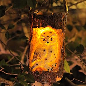 KZOBYD Solar Hanging Lanterns Outdoor Waterproof Owl Stump Lamp with Handle LED Owl Statue Light Lawn Figurine Solar Powered for Patio Courtyard Yard Garden Porch Tabletop Decor (White Wing)