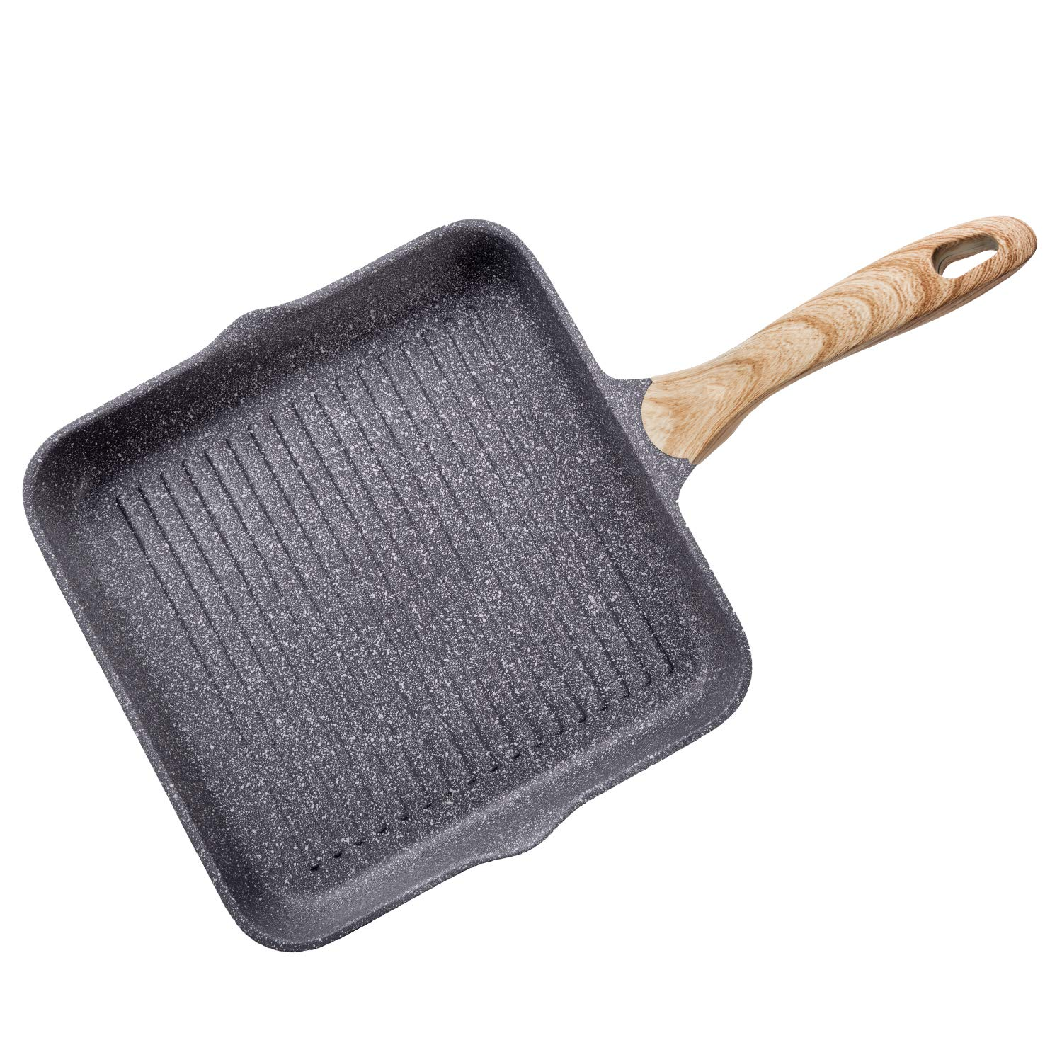 Jeetee 11 Inch Nonstick Oxygen Square Gill Pan with Wooden Handle PFOA Free Griddle Pan Medical Stone Aluminum Frying Pan Beefsteak Suitable For All Stoves