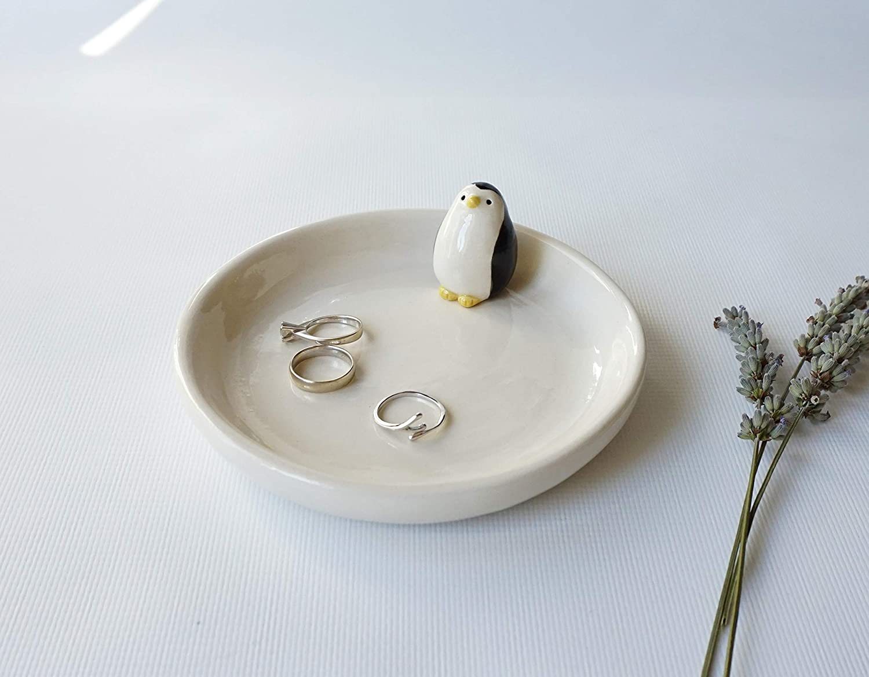 Handmade Ceramic Dish with Penguin