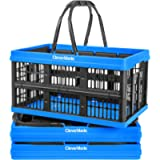 CleverMade Collapsible Plastic Grocery Shopping Baskets: Small Folding Stackable Storage Containers/Bins with Handles…