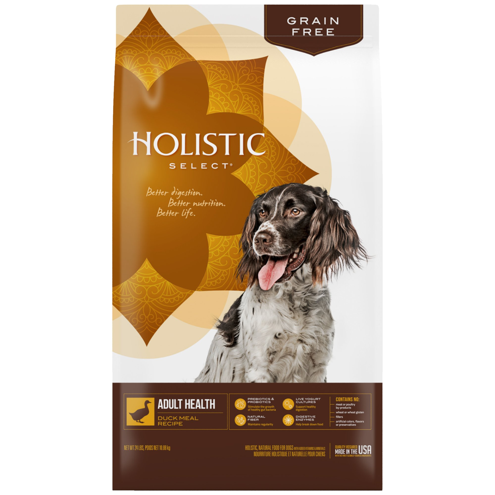 Holistic Select Natural Grain Free Dry Dog Food, Duck Meal Recipe, 24-Pound Bag