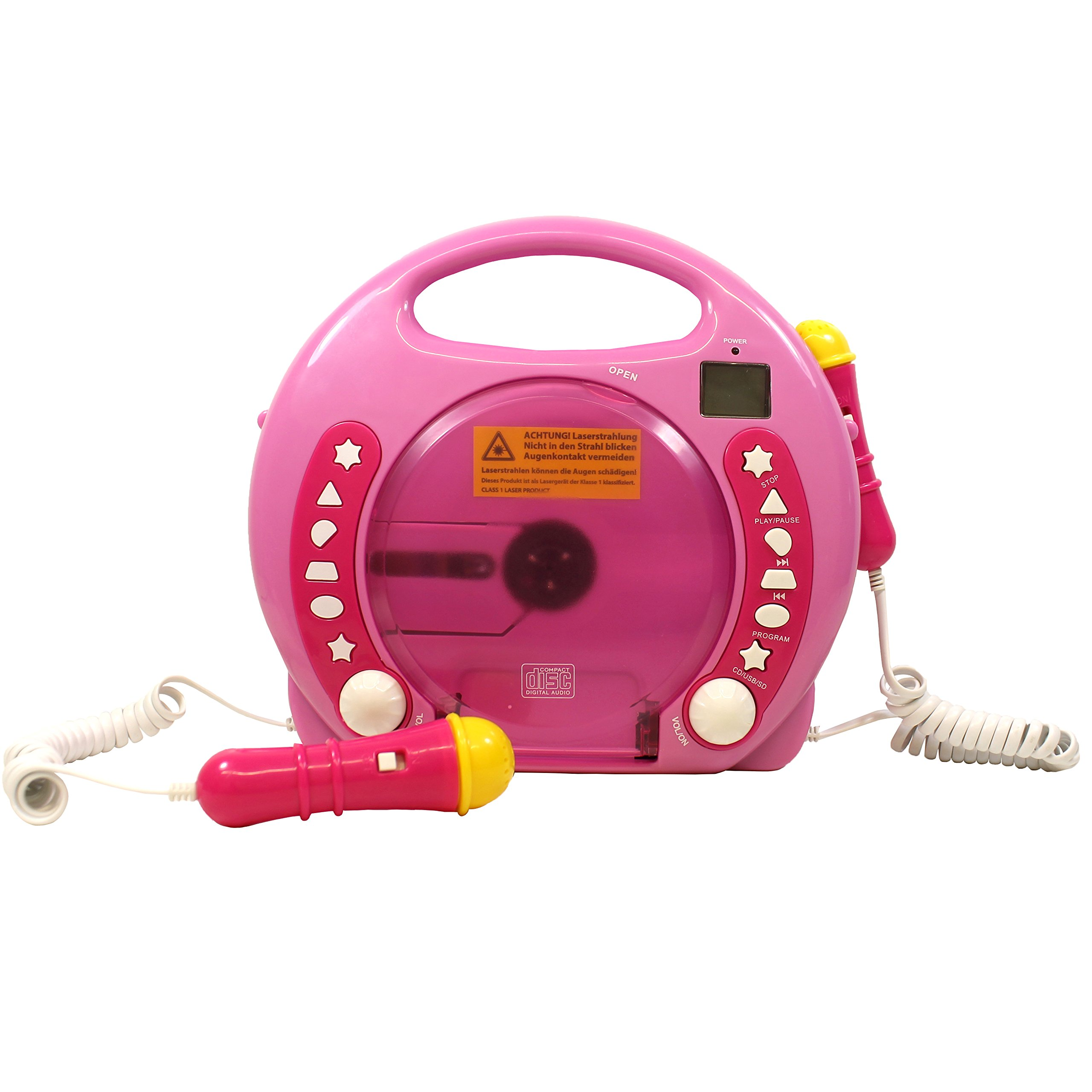 IQ Toys Portable Sing Along CD/USB/SD Player Anti Skip, with 2 Microphones & AC Adapter ( Pink)