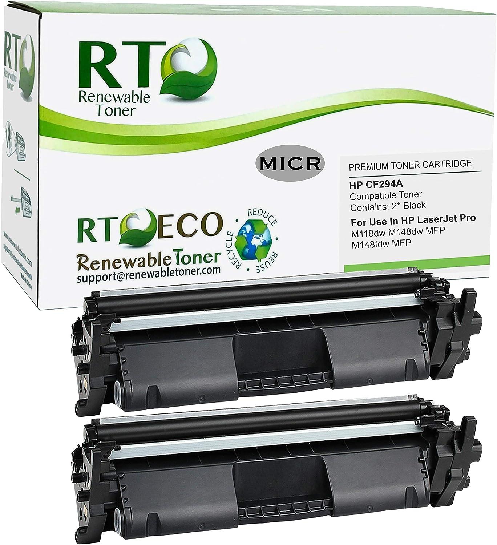 Renewable Toner Compatible MICR Toner Cartridge Replacement for HP CF294A 94A for Laserjet Pro M118 M148 (2-Pack)