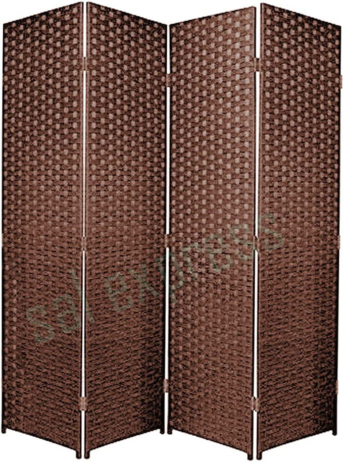 Paneles plegables de mimbre, para privacidad, división, negro, 4: Amazon.es: Hogar