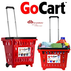 dbest products GoCart, Red Grocery Cart Shopping Laundry Basket on Wheels