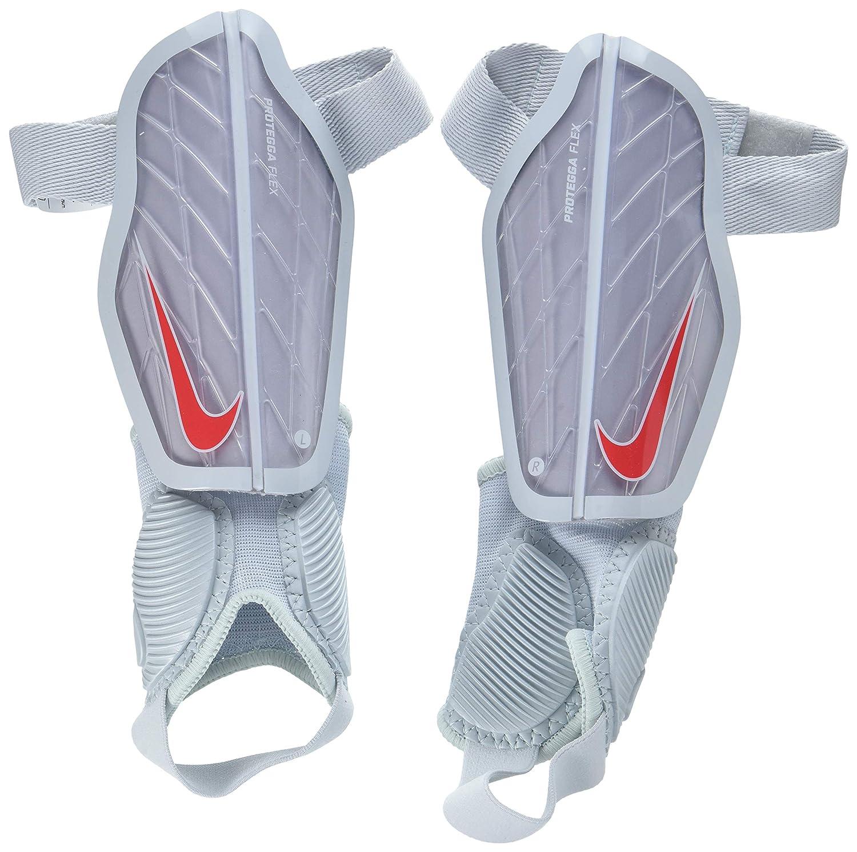 Nike Niños Protegga Flex–Espinilleras Guard–Espinilleras, otoño/Invierno, Infantil, Color Wolf Grey/Pure Platinum/Bright Crimson, tamaño L/140-150 cm otoño/Invierno tamaño L/140-150 cm NIKTP|#Nike