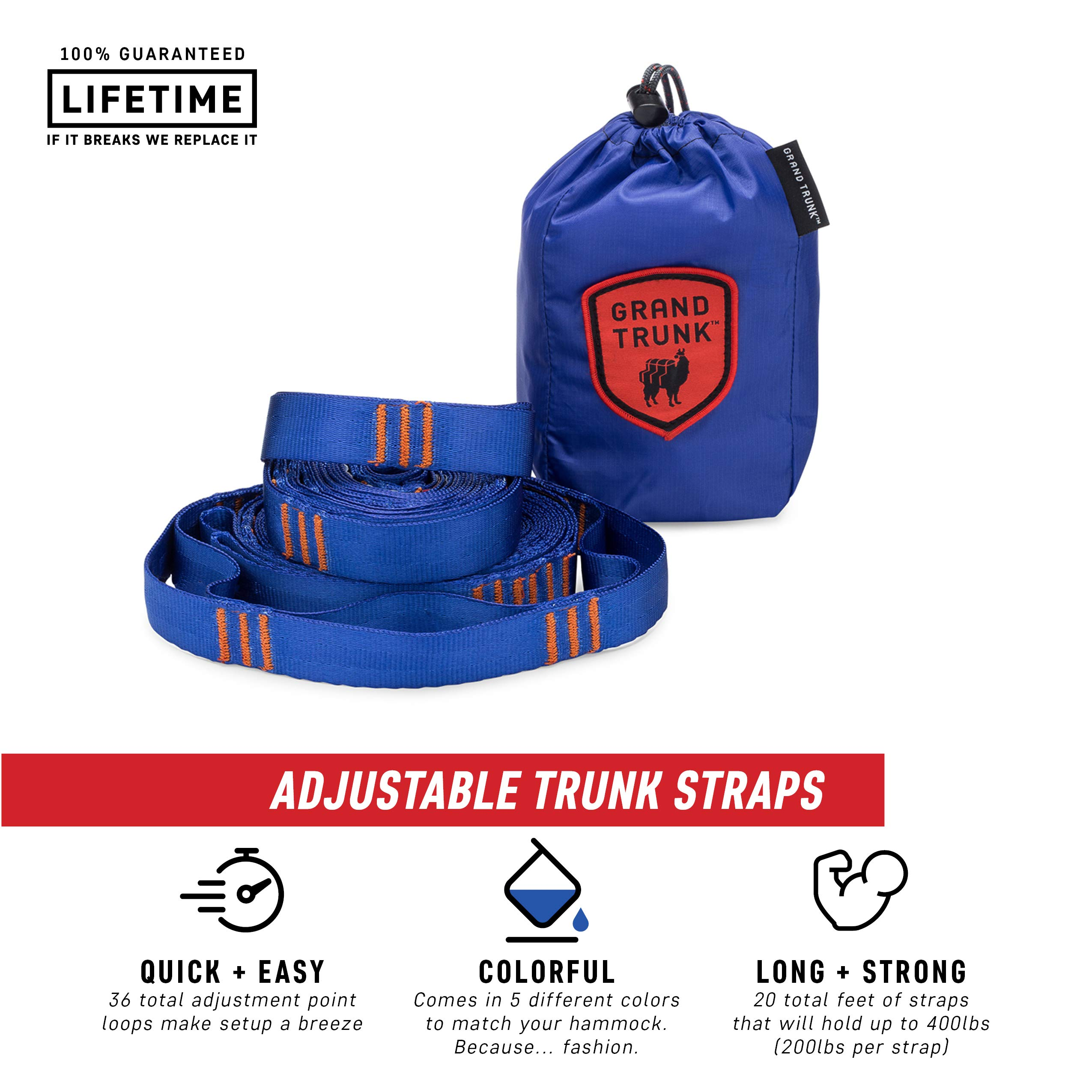 Grand Trunk Hammock Suspension System Trunk Straps, Blue, One Size by Grand Trunk