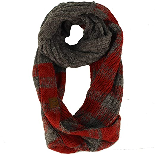 eac7090c5e6f2 CC Buffalo Plaid Soft Chunky Pullover Knit Long Infinity Hood Cowl Scarf  Dk. Melange Gray