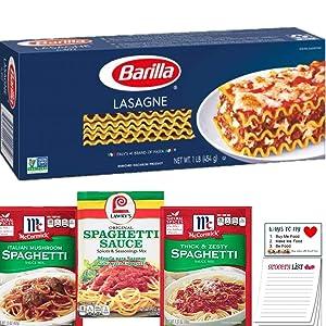 Lasagna Noodles and Dry Spaghetti Sauce Mix Bundle | Barilla Lasagna Pasta Noodles 1 pound | McCormick Thick & Zesty Spaghetti Sauce Mix and Italian Mushroom | Lawry's Spaghetti Sauce | Snack Fun Pad