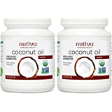 Nutiva Organic, Cold-Pressed, Unrefined, Virgin Coconut Oil from Fresh, non-GMO, Sustainably Farmed Coconuts, 54 Fluid Ounces (Pack of 2)